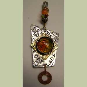Not-So-Crazy Cat Lady Pendant with Amber Kitty