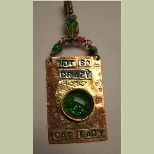 Cat Pendant, Not-So-Crazy Cat Lady in Green