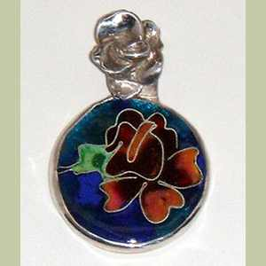 Rose Enamel Pendant in Sterling