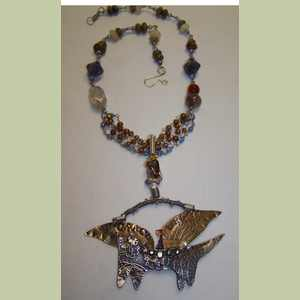 Winged Cat Mixed Media Necklace