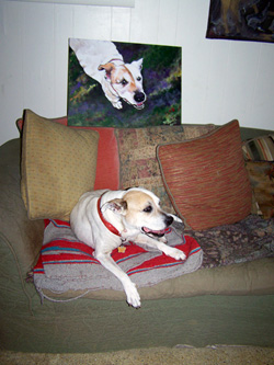 Custom pet portrait - Precious and Her Portrait by Mary W. Smith