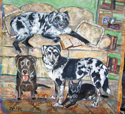 Custom pet portrait - Blended Family by Mary W. Smith