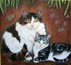 Custom pet portrait - Boudreaux and Scamper by Mary W. Smith
