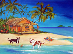 Custom pet portrait - Dog Heaven Beach by Mary W. Smith