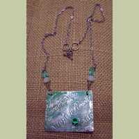 'Rescue...Adopt' Etched Metal Pendant with Green Cubic Zirconia
