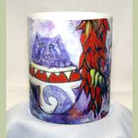 Blue Corn Kitties Red or Green Coffee Mug
