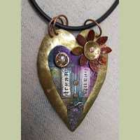 'Heart and Flower' Pendant (Mixed Media Jewelry)
