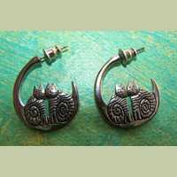 Laurel Burch Silver Cat Crescent Earrings