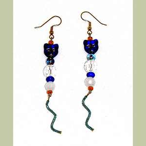 Blue Kitty Earrings Beaded Cat Earrings