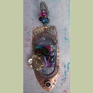 Alices NotSoCrazy Cat Lady Pendant Handcrafted Mixed Media Collage Pendant