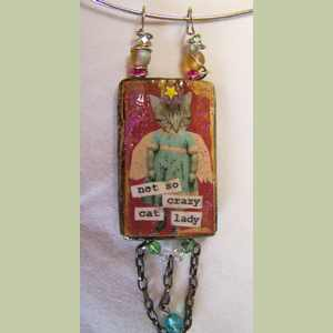 Rescue Angel Kitty Collage Pendant Cat Themed Pendant