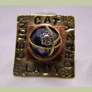 NotSoCrazy Cat Lady Ring with Amethyst Crystal Bead Cat Ring