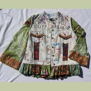 Altered Denim Cat Jacket Handcrafted Artistic Clothing