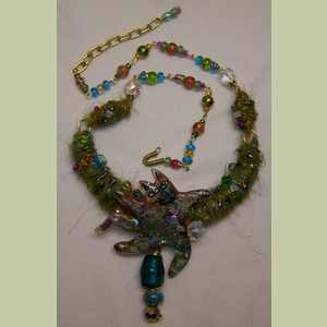 Green Kitty Fiber Necklace Cat Necklace