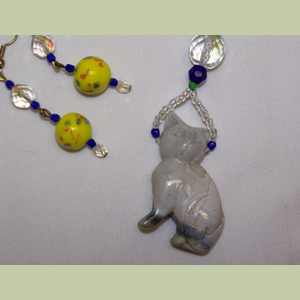 Jasper Cat Necklace Set Blue and Yellow Vintage Beads Cat Necklace