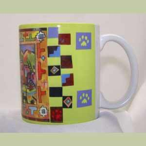 Pueblo Kitties Cats of Taos Pueblo coffee cup Artistic Coffee Mug