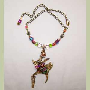 Watermelon Kitty Bead Collage Necklace SALE Cat Themed Necklace