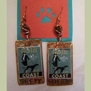Gold Coast Greyhound Collaged Stamp Earrings Greyhound Earrings