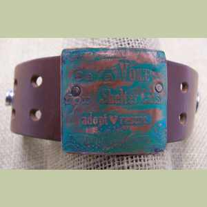 Be a Voice for Shelter Cats Leather Cuff Bracelet Cat Cuff