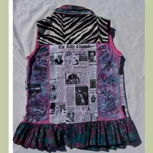 Catty Remarks Vest with Zebra Print and Kitty Newsprint Cat Vest