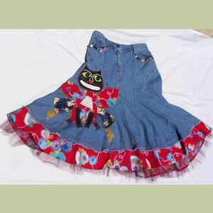 Red Butterfly Kitty Skirt Artistic Cat Clothing