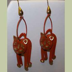 Tangerine D Kitty Earrings Cat Earrings