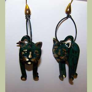 Teal D Kitty Earrings Cat Earrings