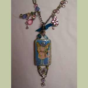 Blue Rescue Butterfly Collaged Necklace with Vintage Charms Cat Themed Necklace